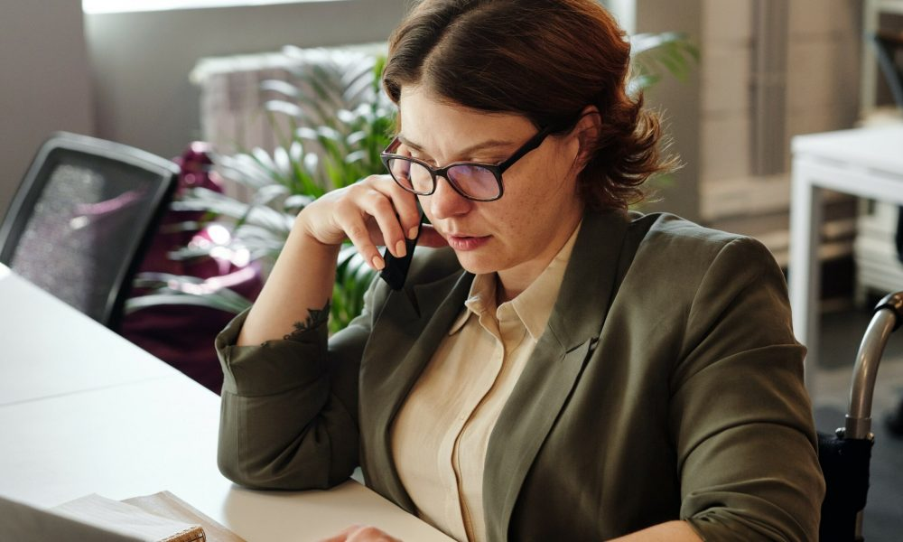 woman on business call in the offic